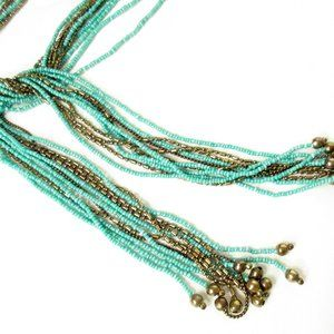 Vintage Jewelry - Turquoise Bead Necklace Extra Long 54""